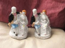 2 X ELEGANT GILDED FIGURINES REGENCY LADY & GENT SAT ON CHAIR TAKING TEA 7""